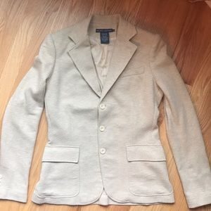RALPH LAUREN TAN HERRINGBONE COTTON SILK BLAZER 8